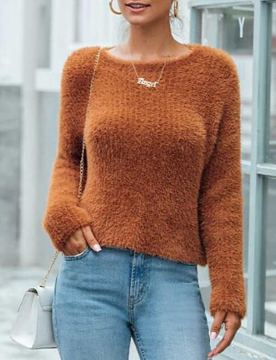 cheap Sweaters & Cardigans-Women's Solid Colored Pullover Long Sleeve Sweater Cardigans Crew Neck Round Neck Fall Winter Brown