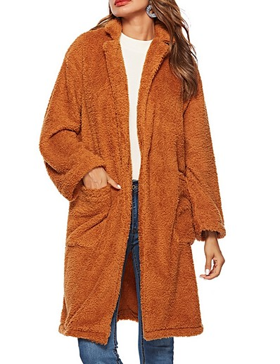 cheap Outerwear-Women's Solid Colored Fall Faux Fur Coat Long Daily Long Sleeve Polyester Coat Tops Brown