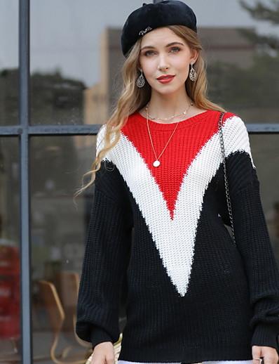 cheap 07/29/2020-Women's Color Block Pullover Long Sleeve Loose Sweater Cardigans U Neck Fall Black Fuchsia