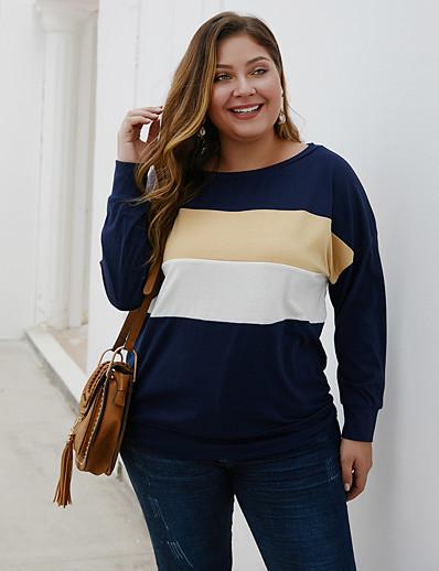 cheap Plus Size Tops-Women's Plus Size Blouse Shirt Color Block Long Sleeve Patchwork Boat Neck Tops Loose Basic Basic Top Navy Blue