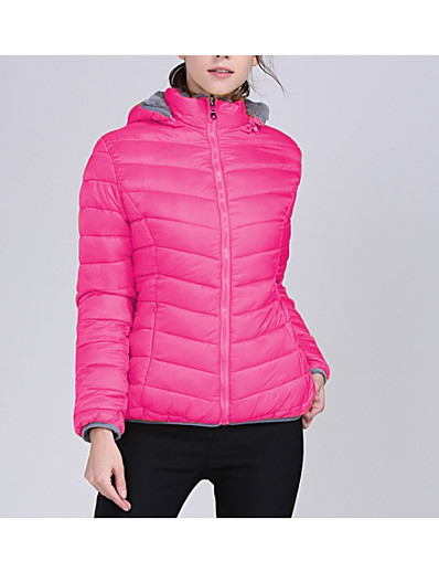 cheap OUTERWEAR-Women's Padded Parka Solid Colored Nylon Black / Red / Yellow M / L / XL / Skinny