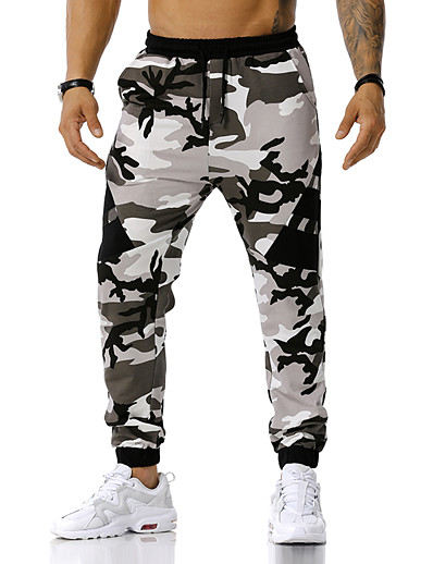 abordables Bas pour Homme-Homme Sports & Activités d'Extérieur Pantalons Vêtement de sport Casual Vêtements de Plein Air Plein Air Chino Joggings Pantalon Camouflage Le style rétro Printemps Automne Bleu Orange Vert S M L