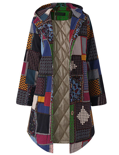 cheap Coats & Trench Coats-Women's Jacket Long Geometric Daily Basic Plus Size Red Green L XL XXL