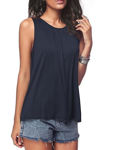 cheap Tank Tops-Women's Vest T shirt Plain Solid Colored Round Neck Basic Tops White Black Blue