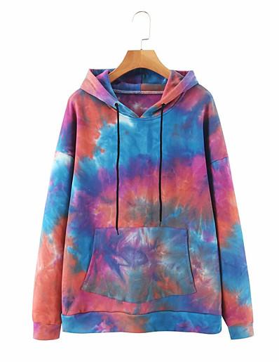 cheap Hoodies & Sweatshirts-Women's Hoodie Tie Dye Basic Hoodies Sweatshirts  Rainbow