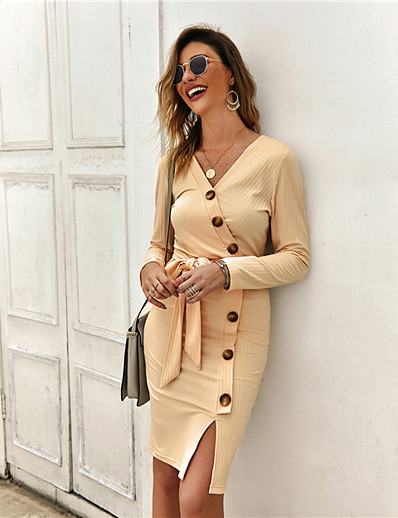 cheap Elegant Dresses-Women's Sweater Jumper Dress Knee Length Dress - Long Sleeve Fall Winter V Neck Casual Cotton 2020 Yellow Wine Army Green Beige S M L XL