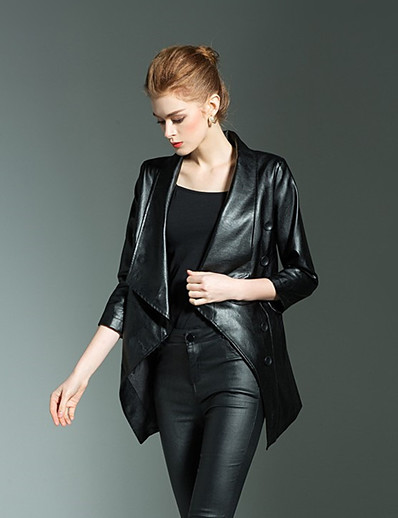 cheap OUTERWEAR-Women's Faux Leather Jacket Long Solid Colored Work Black S M L XXL / Slim