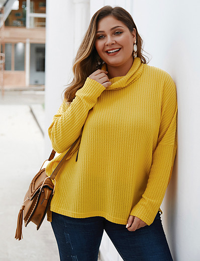 cheap Plus Size Tops-Women's Solid Colored Pullover Long Sleeve Plus Size Loose Oversized Sweater Cardigans Turtleneck Fall Winter Black Yellow Wine