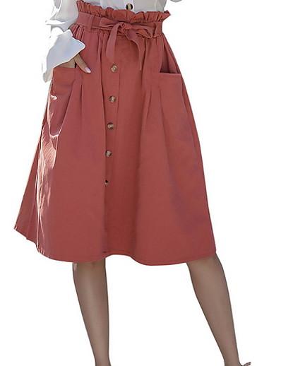 abordables Bas-Femme basique Jupes Couleur Pleine Imprimé Bleu Rouge Kaki