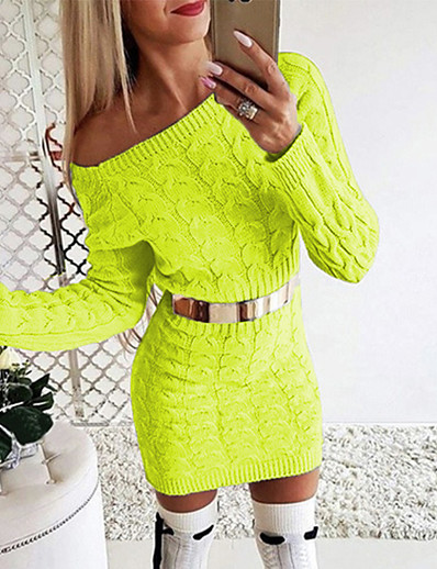 cheap White Dresses-Women's Sweater Jumper Dress Short Mini Dress - Long Sleeve Solid Color Knitted Fall Winter Off Shoulder Sexy Slim 2020 White Black Blushing Pink Green Gray S M L XL