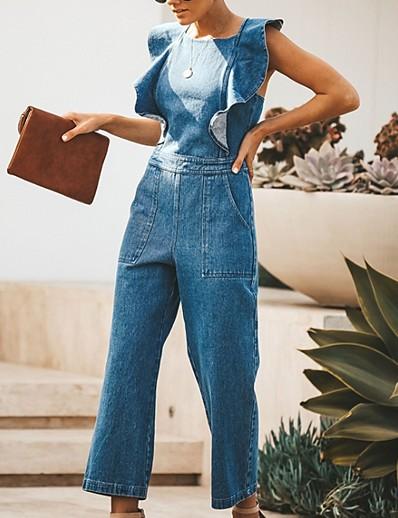 cheap Jumpsuits & Rompers-Women's Blue Jumpsuit Solid Colored