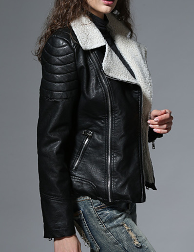 cheap Furs & Leathers-Women's Jacket Regular Solid Colored Daily Black S M L