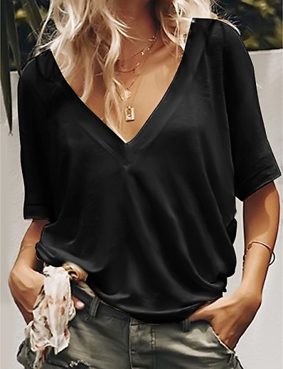 cheap Tees & T Shirts-Women's T-shirt Blouse Shirt Solid Colored Plain V Neck Tops Loose Casual Basic Basic Top White Black Blue