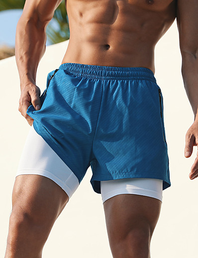 cheap Running, Jogging & Walking-Men's Running Shorts Athleisure Bottoms 2 in 1 Liner Zipper Pocket Fitness Gym Workout Running Jogging Training Breathable Quick Dry Soft Sport Black Blue Camouflage Gray Gray / Stretchy