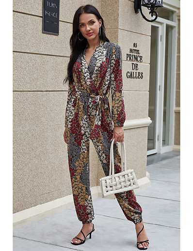 cheap Jumpsuits & Rompers-Women's Streetwear Boho V Neck Brown Jumpsuit Geometric Color Block Lace up