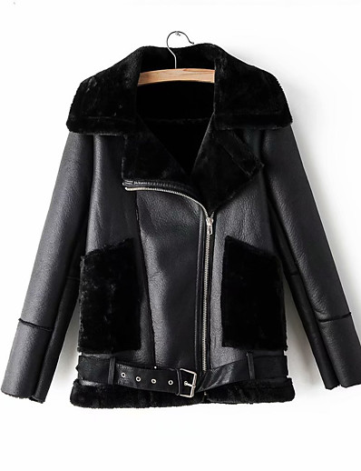 cheap Furs & Leathers-Women's Winter Faux Leather Jacket Short Solid Colored Daily Black S M L