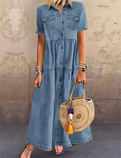 cheap Plus Size Dresses-Women's Denim Shirt Dress Maxi long Dress - Short Sleeve Summer Casual Vacation 100% Cotton 2020 Light Blue S M L XL XXL XXXL