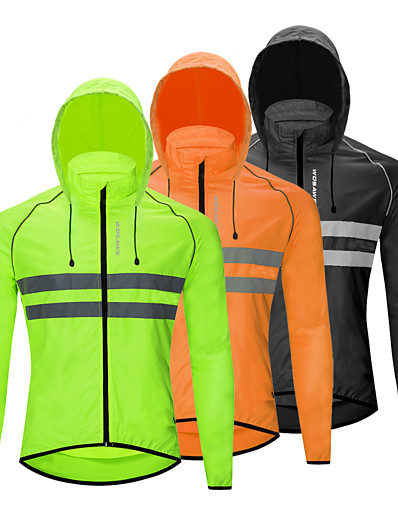 cheap Cycling-WOSAWE Men's Women's Cycling Jersey Cycling Jacket Winter Bike Jacket Tracksuit Windbreaker Windproof Breathable Quick Dry Sports Stripes Solid Color Black / Orange / Green Mountain Bike MTB Clothing