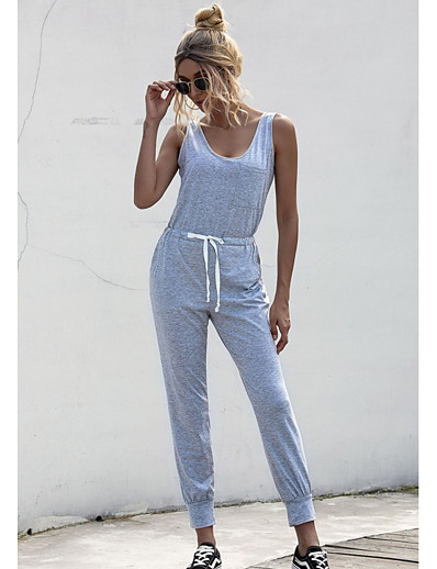 cheap Jumpsuits & Rompers-Women's Black Wine Gray Jumpsuit Solid Colored