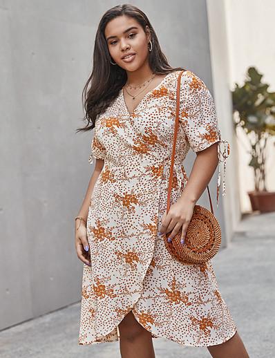 cheap Plus Size Dresses-Women's Swing Dress Knee Length Dress - Half Sleeve Print Print Summer V Neck Casual Daily Loose 2020 Beige XL XXL XXXL XXXXL