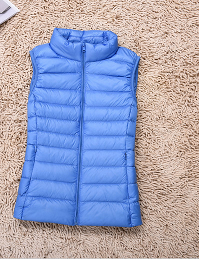 cheap Down& Parkas-Women's Casual Solid Colored Padded Lightweight Vest Coat Outerwear Top