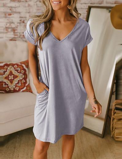 cheap Mini Dresses-Women's T Shirt Dress Tee Dress Short Mini Dress - Short Sleeve Solid Color Summer V Neck Hot Casual Loose 2020 Black Blue Gray S M L XL XXL