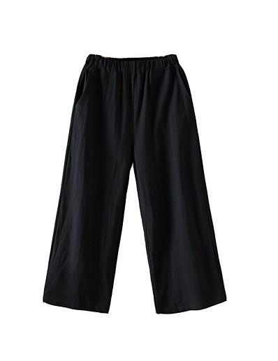 cheap Women's Bottoms-Women's Basic Cotton Loose Daily Wide Leg Pants Solid Colored High Waist White Black Blue