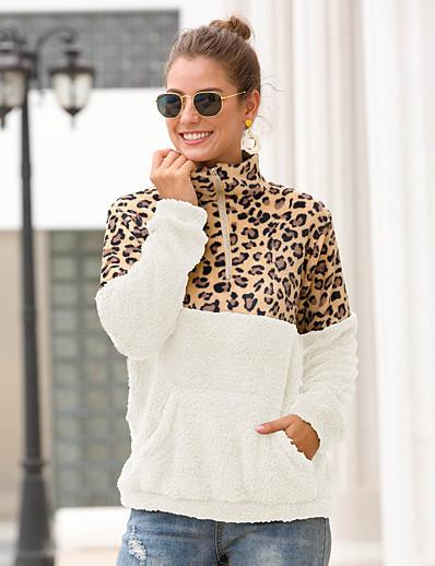 cheap Furs & Leathers-Women's Daily Pullover Sweatshirt Leopard Color Block Cheetah Print Basic Hoodies Sweatshirts  White Black Army Green / Camo / Camouflage