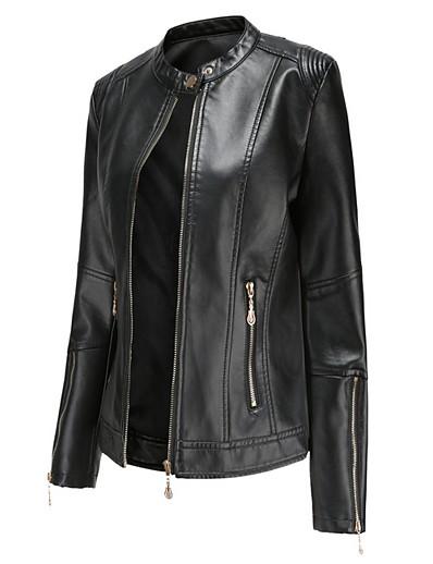 abordables Vestes Femme-Femme Mao Veste de cuir Normal Couleur Pleine Quotidien Noir Rouge Vert Beige S M L XL