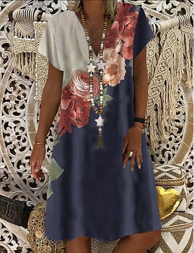 cheap Casual Dresses-Women's Shift Dress Knee Length Dress - Short Sleeve Floral Clothing Summer V Neck Casual Hot vacation dresses 2020 Blue M L XL XXL 3XL