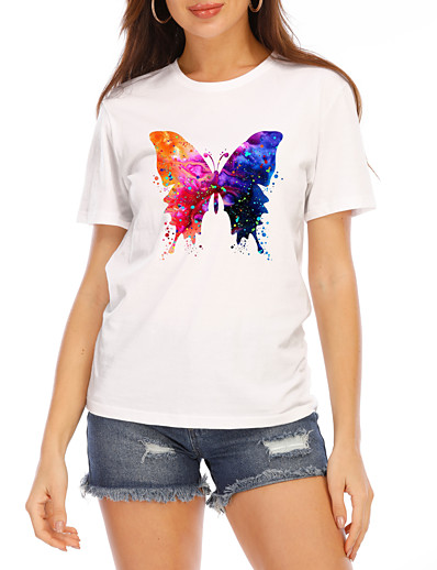cheap TOPS-Women's T-shirt Graphic Prints Round Neck Tops Slim 100% Cotton Basic Top White