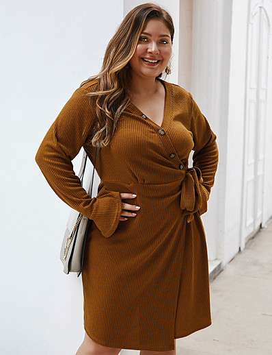 cheap Plus Size Dresses-Women's Swing Dress Knee Length Dress - Long Sleeve Solid Color Fall Winter V Neck Casual Daily Flare Cuff Sleeve Loose 2020 Army Green Camel Navy Blue XL XXL XXXL XXXXL