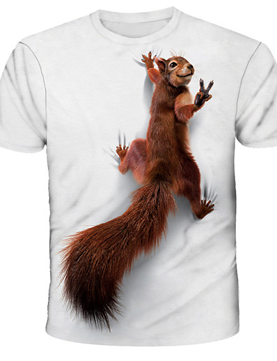 cheap Men's Tops-Men's Tee T shirt 3D Print Graphic Squirrel Print Short Sleeve Daily Tops Streetwear Exaggerated White Blue Red