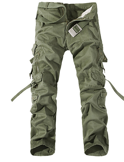 cheap Men's Bottoms-Men's Sporty Weekend Loose Cotton Tactical Cargo Pants Solid Colored Outdoor Spring Fall Black Army Green Khaki US32 / UK32 / EU40 US34 / UK34 / EU42 US36 / UK36 / EU44