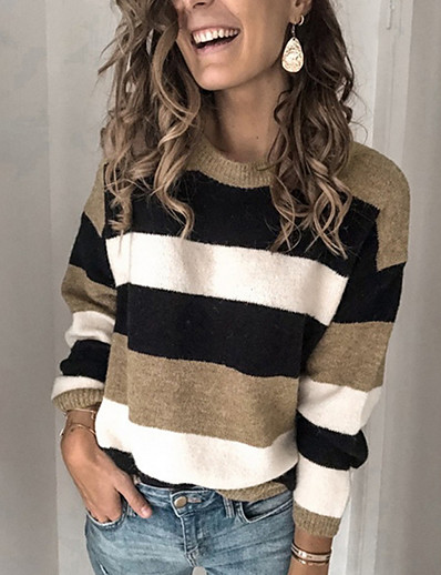 cheap Sweaters & Cardigans-Women's Striped Pullover Long Sleeve Loose Sweater Cardigans Round Neck Fall Winter Blue Yellow Wine
