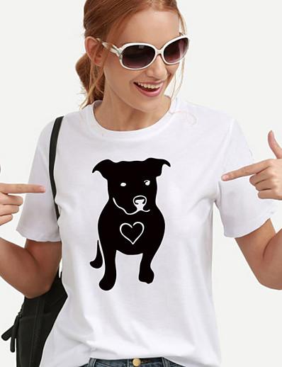 cheap TOPS-Women's T-shirt Graphic Prints Printing Print Round Neck Tops 100% Cotton Basic Basic Top White Black Yellow