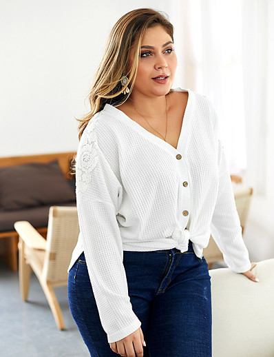 cheap Plus Size Tops-Women's Casual / Daily Solid Colored Cardigan Long Sleeve Plus Size Loose Oversized Sweater Cardigans V Neck Fall Winter White Army Green Khaki
