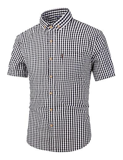 cheap MEN-Men's Plaid Shirt Short Sleeve Daily Tops Cotton Basic Button Down Collar Black Red Royal Blue