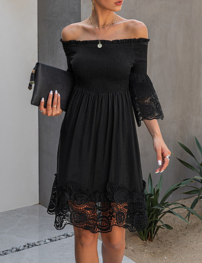 cheap Elegant Dresses-Women's A-Line Dress Knee Length Dress - Half Sleeve Solid Color Print Summer Elegant Daily 2020 Black S M L XL XXL