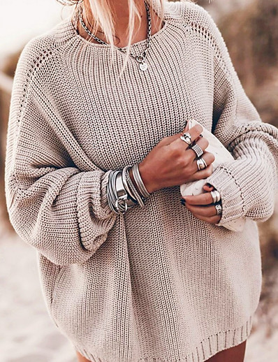 cheap Sweaters & Cardigans-Women's Solid Colored Pullover Long Sleeve Sweater Cardigans Crew Neck Round Neck Fall Winter Blue Khaki
