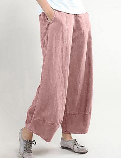 cheap Women's Bottoms-Women's Basic Cotton Loose Wide Leg Pants Solid Colored Black Dusty Rose Light gray