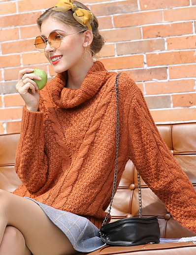 cheap 07/29/2020-Women's Solid Colored Pullover Long Sleeve Loose Sweater Cardigans Turtleneck Fall Brown Gray
