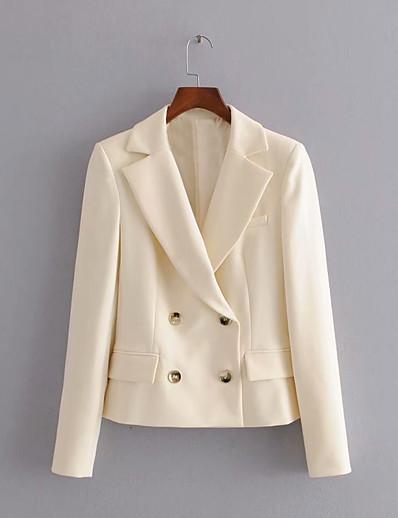 cheap Blazers-Women's Notch lapel collar Blazer Solid Colored Beige XS / S / M / Slim