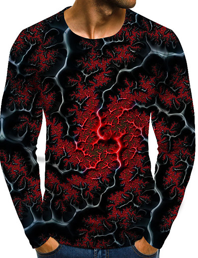 cheap MEN-Men's Daily Plus Size T-shirt Graphic Print Long Sleeve Tops Basic Exaggerated Round Neck Blue Red Green