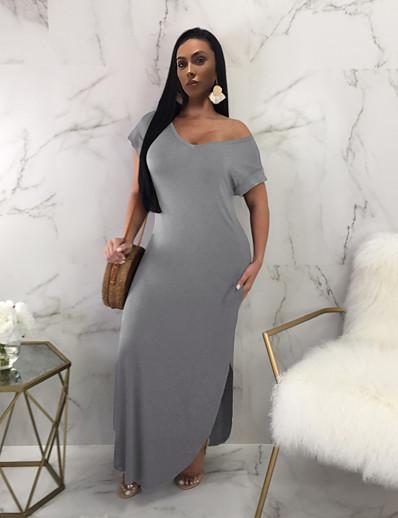 cheap Plus Size Dresses-Women's Sheath Dress Maxi long Dress - Short Sleeve Solid Color Split Summer Sexy 2020 Wine Khaki Green Gray S M L XL