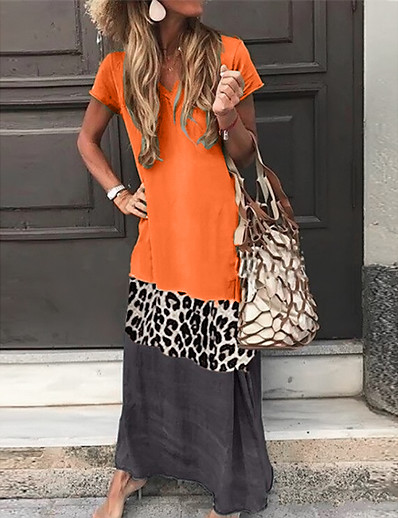 cheap Maxi Dresses-Women's Shift Dress Maxi long Dress - Short Sleeve Leopard Color Block Summer V Neck Casual Vacation Hot 2020 Black Orange Green Gray S M L XL XXL 3XL 4XL 5XL