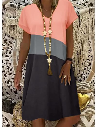 cheap Casual Dresses-Women's Shift Dress Knee Length Dress - Short Sleeve Color Block Summer V Neck Casual 2020 Yellow Orange Khaki S M L XL XXL XXXL XXXXL XXXXXL