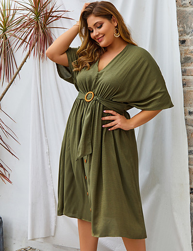 cheap Plus Size Dresses-Women's Swing Dress Knee Length Dress - Half Sleeve Solid Color Spring Summer V Neck Casual Daily Loose 2020 Black Blushing Pink Army Green XL XXL XXXL XXXXL