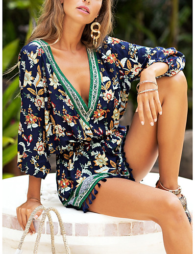 cheap JUMPSUITS & ROMPERS-Women's V Neck Navy Blue Romper Geometric Color Block Tassel Fringe / Wide Leg