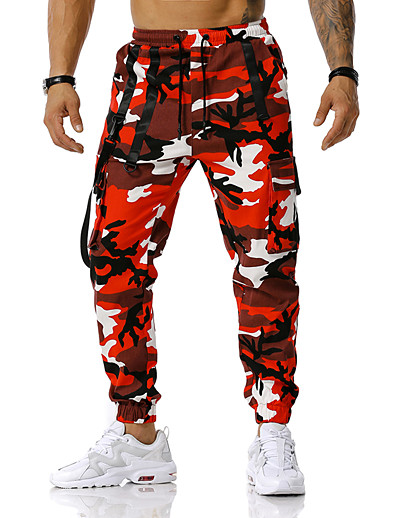 cheap Men's Bottoms-Men's Loose Tactical Cargo Pants Camouflage Spring Fall Blue Red Orange S M L